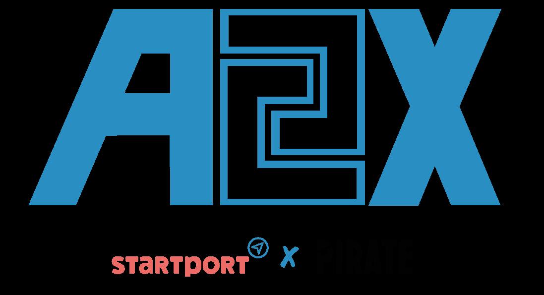 A2X startport x PIRATE blue positive logo